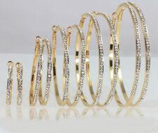 Yellow Gold Plated Crystal Handmade Fashion Earrings
