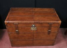 Big English Leather Campaign Luggage Trunk Storage Box Coffee Table