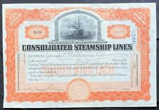 CONSOLIDATED STEAMSHIP LINES Stock 1907. Charles W. Morse Shipping Empire.  VF++