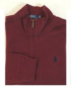 Polo Ralph Lauren 1/2 Half Zip Leather French Rib Pony Mockneck Sweater Ski M L
