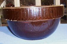antique Vintage large brown EARTHENWARE 10 in BOWL STONEWARE 1920's or older