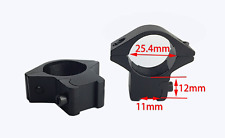 """PAIR of 25.4mm/25mm/1"""" Low Mount Scope Rings. Fits 11mm Rail"""