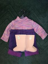 American Girl Today Long Sleeve Stripe Shirt Purple Capris Tan Boots Hanger