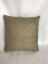 """John Robshaw hand-block print designer linen and velvet throw pillow 18""""x18"""""""