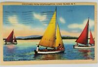 Vintage Linen Color Postcard Greetings from Southampton Long Island NY 1948