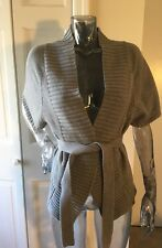SHAE Sz S Cotton Cashmere Cardigan EUC Sweater Gray belted vest Short Sleeved