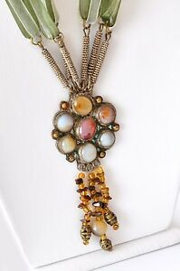 Handmade Necklace with Antique Pendant, Antique Colorful Agate Pendant