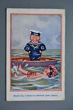 R&L Postcard: Ludgate Comic, Navy Sailor, Rowing Boat, Heave To