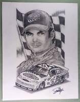 ORIGINAL ART  PRINT of JEFF GORDON with 24 FIRE CAR by SMITTY (SHIPS FREE)*