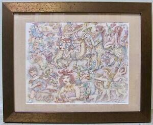 ANTHONY D'ATTILIO Vintage Original Mixed Media Signed Painting NY Surrealism COA