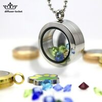 Floral Face Stainless Steel Floating Charm Glass Memory Living Locket