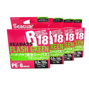 Kureha Seaguar R18 Seabass Flash Green PE X8 Braid Line  #0.6 #0.8 #1 #1.2 150m