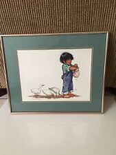 Linda Avey Framed - Girls Doing Hair - Watercolor/Mixed Media-Orig '84