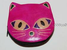 HANDCRAFTED SHANTINIKETAN FUCHSIA LEATHER HAND-TOOLED CAT ZIPPERED COIN PURSE