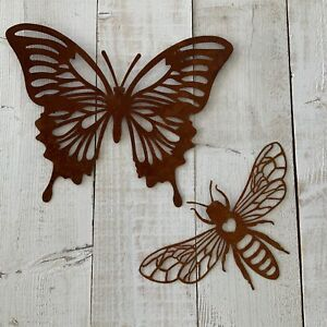 Rusty Metal Butterfly Bee Garden Wall Fence Art Decoration Hanging Country