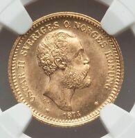 1874 ST Sweden Oscar II gold 10 Kronor MS64+ NGC NEAR GEM W/ EYE APPEAL OVERDATE