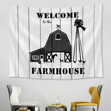 Black White Sketch Farmhouse Animals Tapestry Wall Hanging Living Room Bedroom