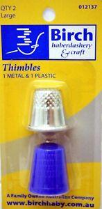 BIRCH - THIMBLES 1 Plastic, 1 Metal - 3 sizes available - choose size