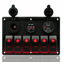 6Gang LED Schaltpanel Schalter Schalttafel Voltmeter Dual USB 12-24V Auto Boot