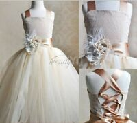 Flower Girl's Dress Communion Confirmation Formal Junior Wedding LACE TULLE 2-14