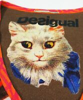 DESIGUAL #91T2433 V-neck Short Sleeve Cat Lovers Jersey Shirt Top