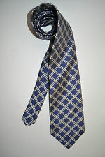$150 Paul Stuart Dark Blue/Silver Gray/Ivory Double Check Ribbed 100% Silk Tie