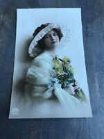 RPPC Tinted Antique Postcard Pretty Lady Hat Yellow Flowers In Green