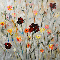 "Original Acrylic Painting Flower Art on Canvas ""Wild flora"" by Hunoz 36""x 36"""