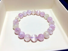 Genuine Natural Kunzite Crystal Cat eye Round Beads Bracelet AAAA 9mm