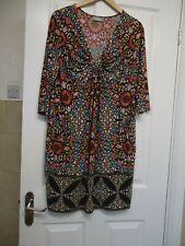WALLIS  PINK/IVORY/TURQUOISE DRESS SIZE LARGE
