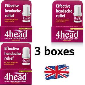 UK STOCK - 3 x 4head Headache FAST Relief Stick for Forehead/Migraine Treatment