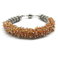 Yellow Crystal Beads CZ Bracelet Magnetic Ends Sparkle Bling Shiny Dressy Hawaii