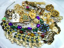 LOT   Vintage Craft Repurpose Necklace Earring Bracelet Brooch Rhinestone