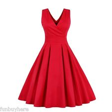 Retro 50s Swing V-neck Rockabilly Ruffle Red Skirt Party Cocktail Vintage Dress