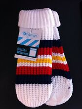 Girls or Boys Vintage Delamare Mittens. 100% Cosy Acrylic. White stripes Ref 019