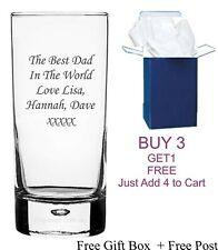 Personalised Engraved Highball Tumbler Rum glass Xmas Wedding Birthday Dad Gift