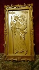 "Icon St Raphael the Archangel. 3D Art Orthodox Wooden Carved picture. 40"" size."