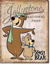 More details for yogi bear/ boo-boo bear,vintage-style metal  wall sign, 41x31cm,  hanna barbera