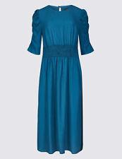 Ex M&S Half Sleeve Waisted Blue Side Stripe Midi Swing Dress Size 6 - 22