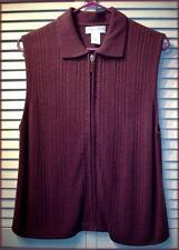 DRAPER'S & DAMON'S Plum Purple Acrylic Knit Zip Up Sweater Vest (PM) Cable Knit