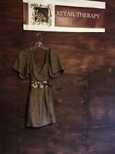 Miss Me 100% Silk Brown Dress SS M