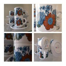6 tasses 5 soucoupes céramique porcelaine PILLIVUYT Art Nouveau France N112