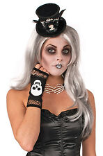 BLACK SKELETON FINGERLESS FISHNET GLOVES FANCY DRESS PARTY