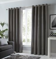 Fusion Sorbonne Ready Made Plain Charcoal 100% Cotton Lined Eyelet Curtains