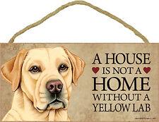 Yellow Lab Wood Dog Sign Wall Plaque Photo Display 5 x 10 + Bonus Coaster