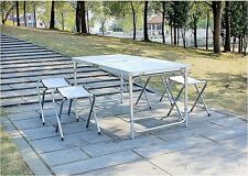 New Portable Folding Table Adjustable Height w/ 4 Chairs Camping/Trading/BBQ
