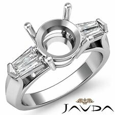 Round Mount 18k White Gold 0.5Ct Natural 3Stone Diamond Engagement Ring Baguette