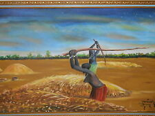 Painting Original Oil on Canvas Colorful African Subject Farm Scene 1950 signed