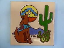 Ceramic Art Tile 6x6 Southwest coyote dog cactus trivet wall spoon rest New G61