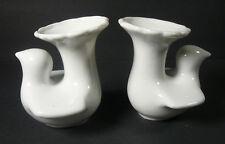 Mid Century Modern 2 White Dove Bird Porcelain Vases